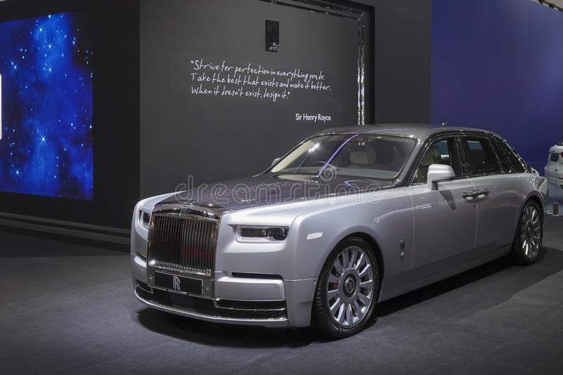 Rolls Royce New Phantom lyxig bil i motorshowen 2019 royaltyfri fotografi