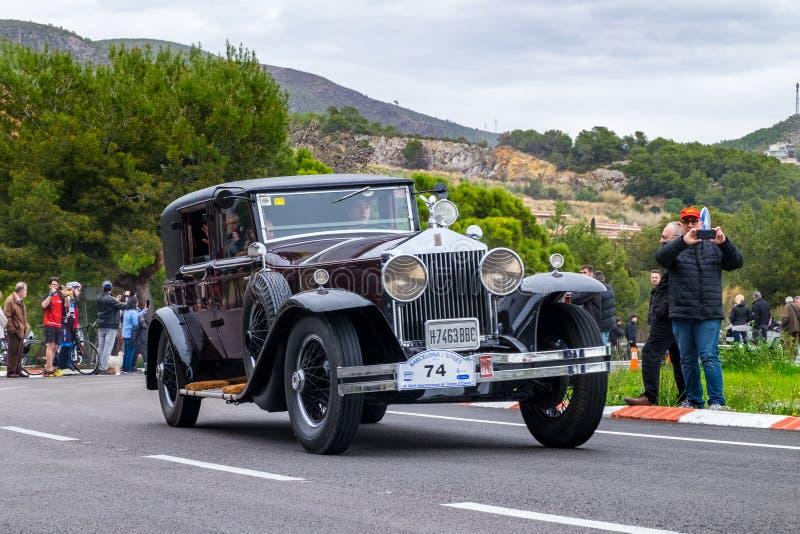 Rolls Royce Phantom I, rallye internacional Barcelona do carro do vintage da edição do Th 60 - o Sitges imagem de stock