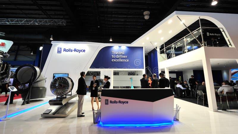 Rolls royce que apresenta seus motores de Trent em Singapura Airshow imagem de stock