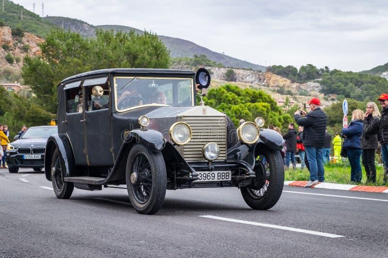 Rolls Royce Twenty, Weinlese-Auto rallye der 60. Ausgabe internationales Barcelona - Sitges stockbilder