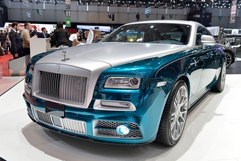Rolls Royce Wraith denominada por Mansory na exposição automóvel de Genebra foto de stock