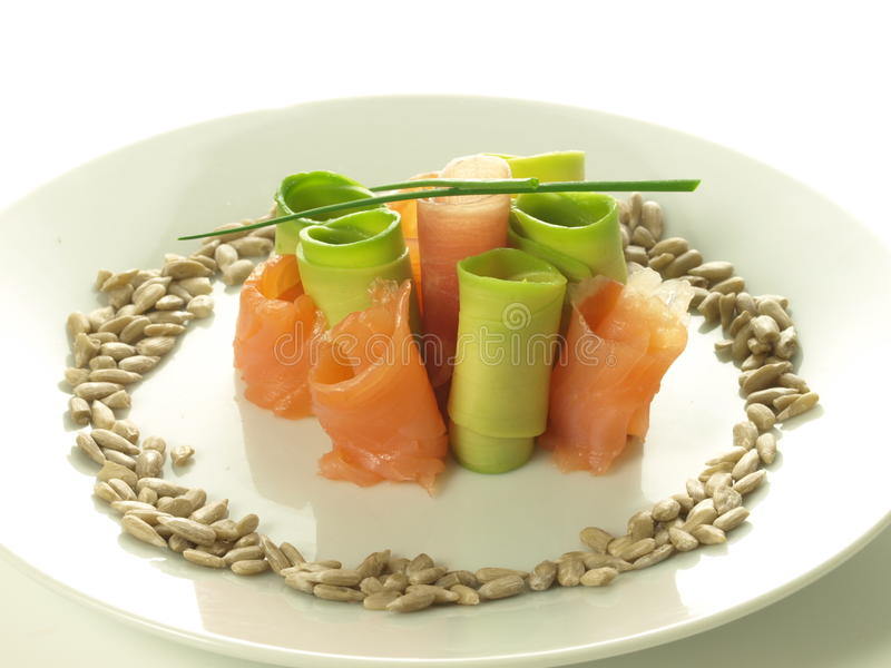Rolls of salmon and avocado stock photos