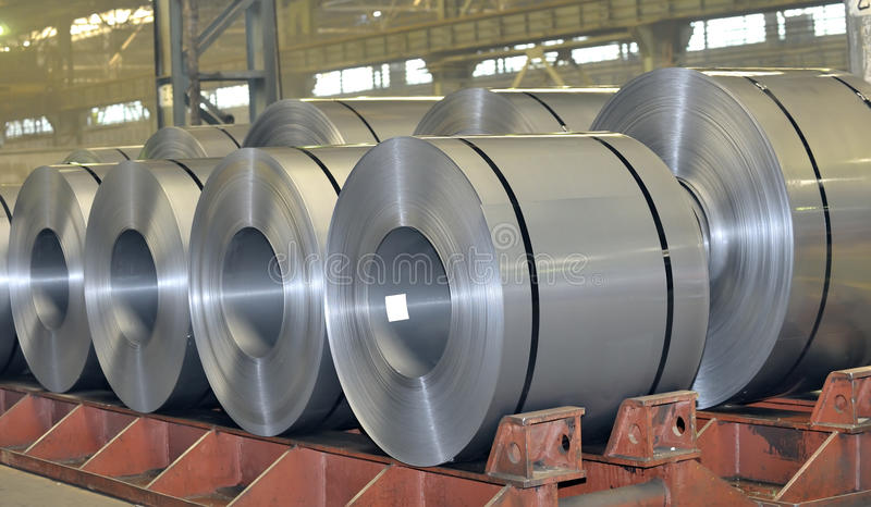 Rolls of steel sheet royalty free stock photography