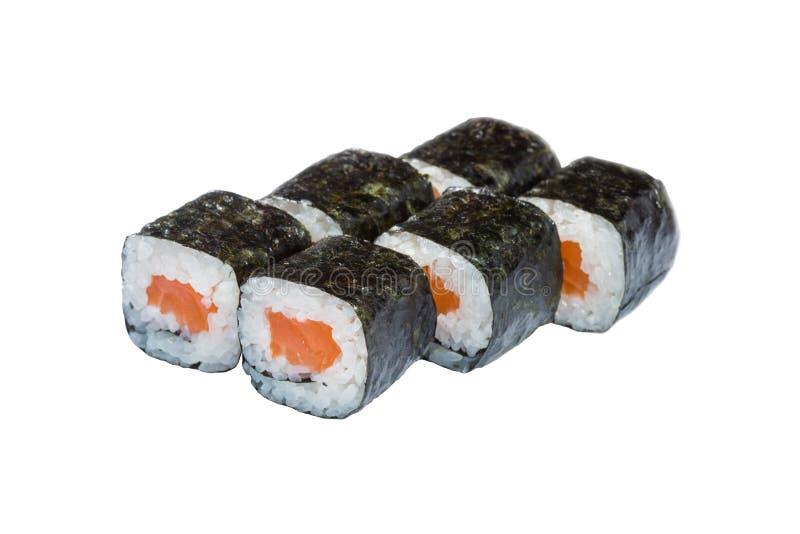 Rolls, sushi ha allineato su un fondo bianco, alimento giapponese, avvolto in alghe, riso e pesce, verdure e wasabi immagine stock libera da diritti