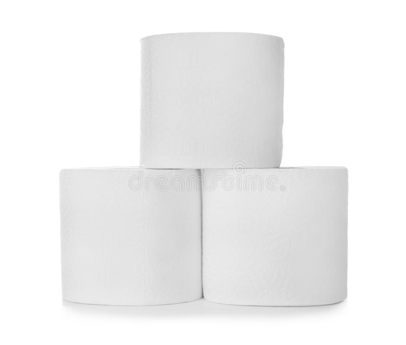 Rolls of toilet paper on white background royalty free stock photos