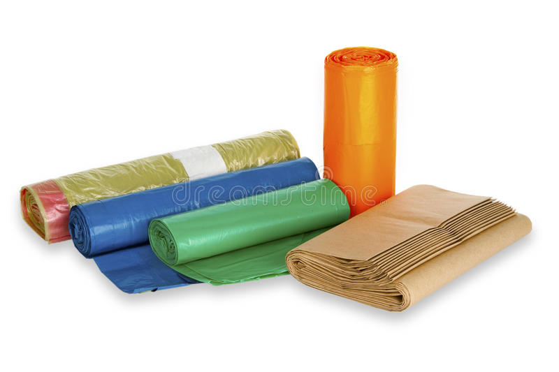 Rolls of trash bags royalty free stock image