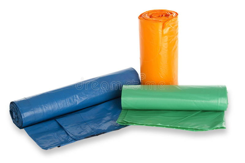 Rolls of trash bags stock photo