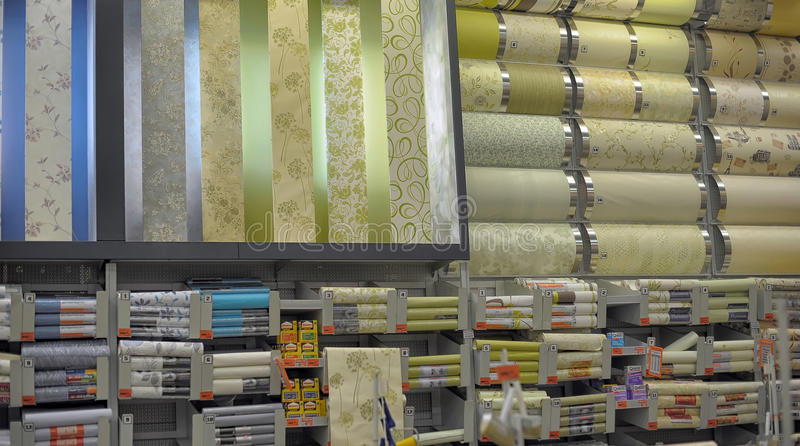 Rolls of wallpaper in the store editorial image image for Wallpaper home improvement