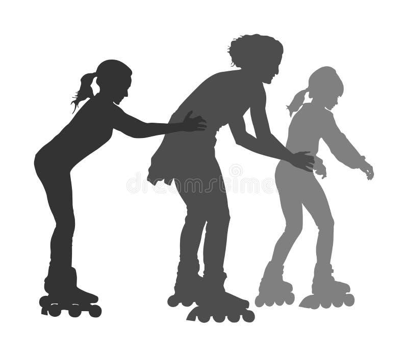Rollschuhlaufenmädchen mit Mutter im rollerblading Schattenbild des Parks lokalisiert auf weißem Hintergrund lizenzfreie abbildung