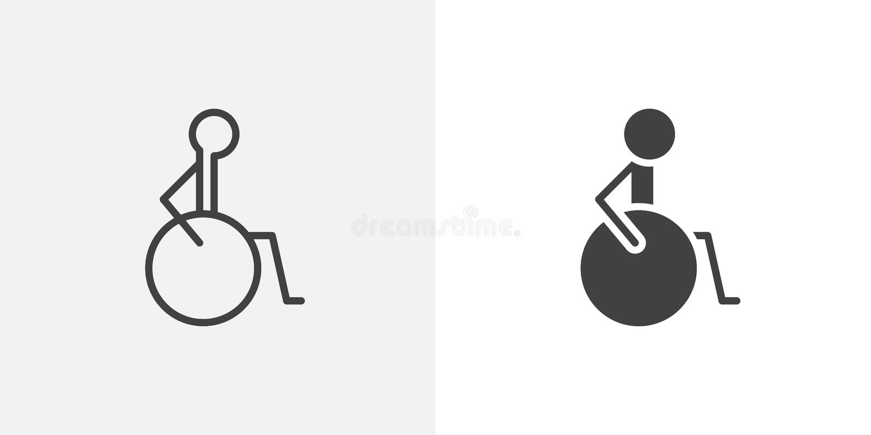 Rollstuhlhandikapikone vektor abbildung