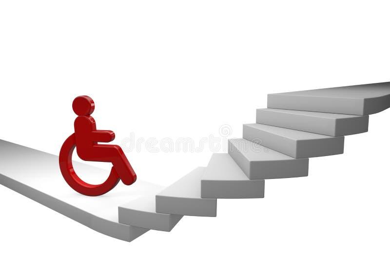 Rollstuhltreiber und -treppenhaus lizenzfreie abbildung
