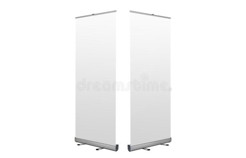 Rollup banners stand. Blank template mockup. Exhibition stand roll-up banner. stock image