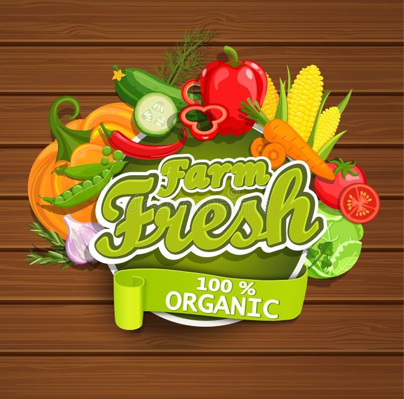 Rolna świeżych warzyw etykietka ilustracja wektor