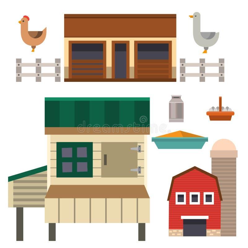 Rolna domowa karmowa plenerowa stajnia buduje czystą łąkową naturalną rolnictw zwierząt wektoru ilustrację ilustracji