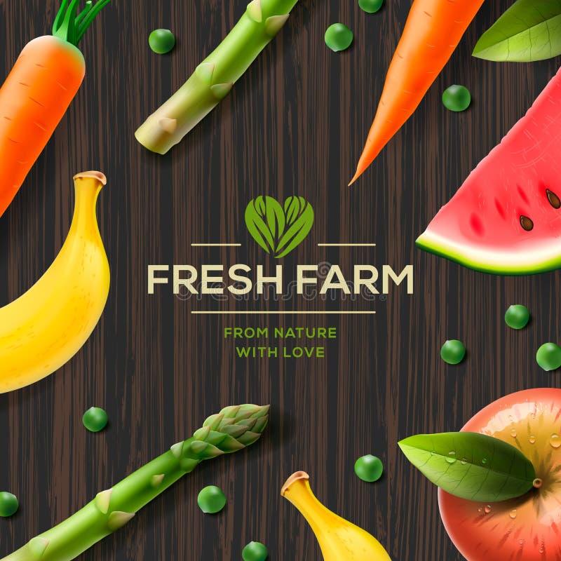 Rolna etykietka, życiorys zdrowy jedzenie na drewnianym tle ilustracji