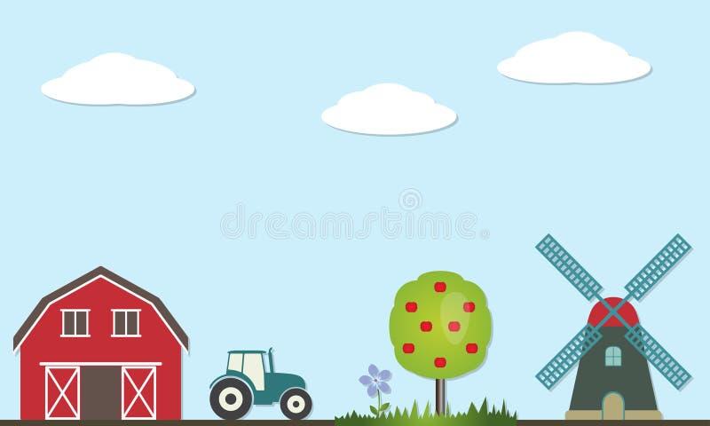 Rolna krajobrazowa ilustracja Rolnictwo i wektorowe ikony symbole i: stajnia dom, ciągnik, wiatraczek, drzewo, trawa, kwiat, ilustracja wektor