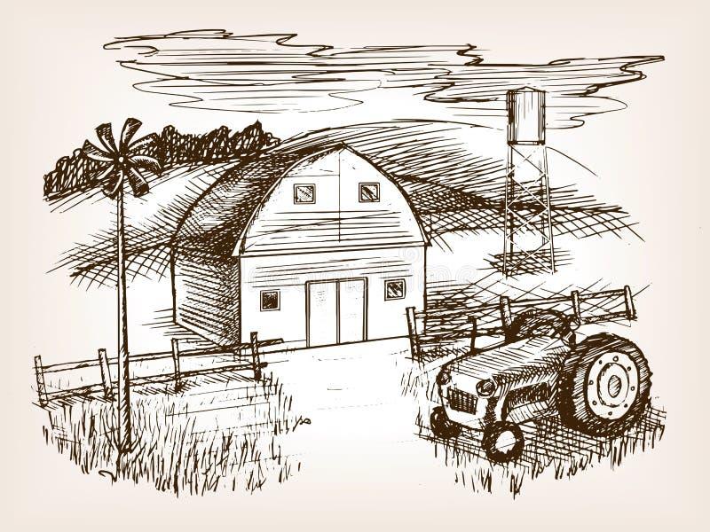 Rolna krajobrazowa nakreślenie wektoru ilustracja royalty ilustracja