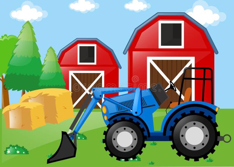 Rolna scena z ciągnikiem na polu ilustracji