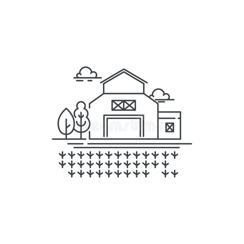 Rolna stajni linii ikona z kiełkować śródpolną kontur ilustrację flance na śródpolnym wektorowym liniowym projekcie odizolowywają ilustracji