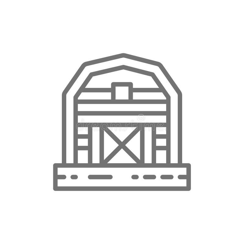Rolna stajnia, szklarnia, wsi kreskowa ikona ilustracji