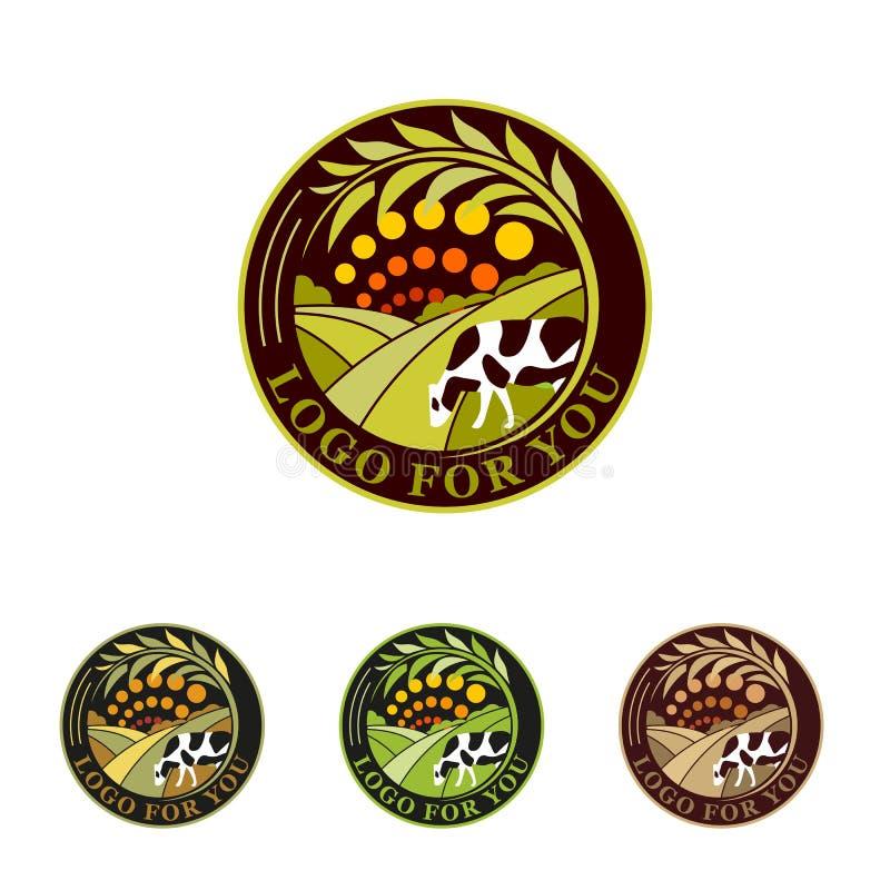Rolna zielona logo kolekcja Wiejscy krajobrazowi logowie Środowiskowi znaki Set havest projekta emblemata elementy royalty ilustracja