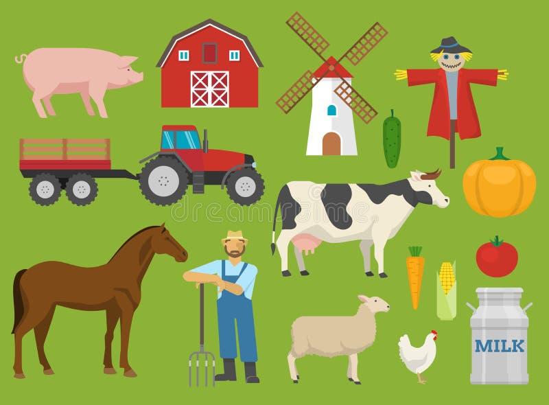Rolne Dekoracyjne Płaskie ikony Ustawiać ilustracji