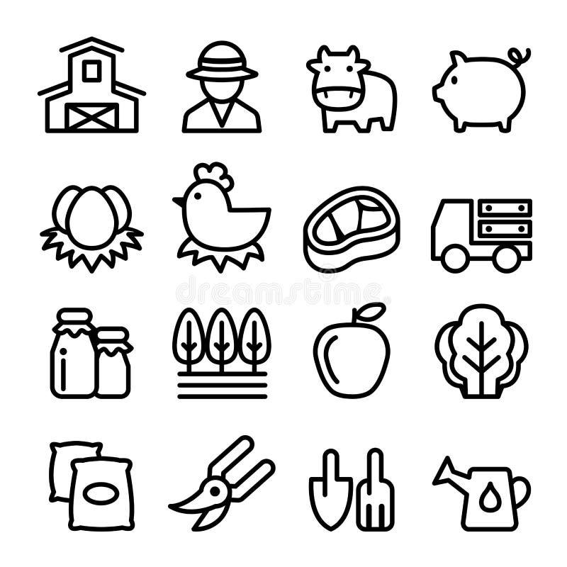 Rolne ikony ustawiać, kreskowa ikona ilustracji
