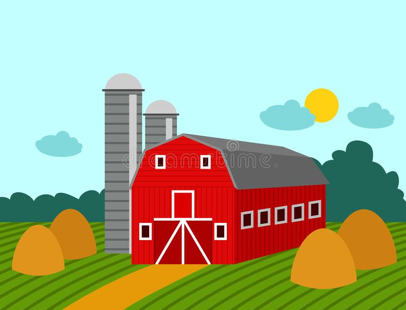 Rolnego budynku rolnictwa ziemi uprawnej natury wiejska wieś uprawia ziemię architektury tła wektoru ilustrację royalty ilustracja
