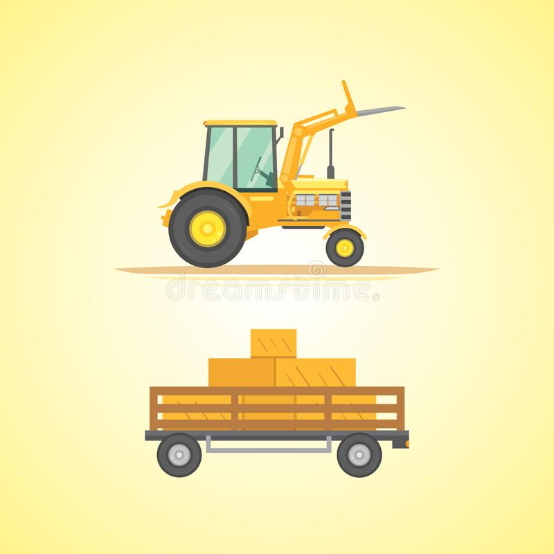 Rolnego ciągnika ikony wektoru ilustracja Ciężka rolnicza maszyneria dla śródpolnej pracy royalty ilustracja