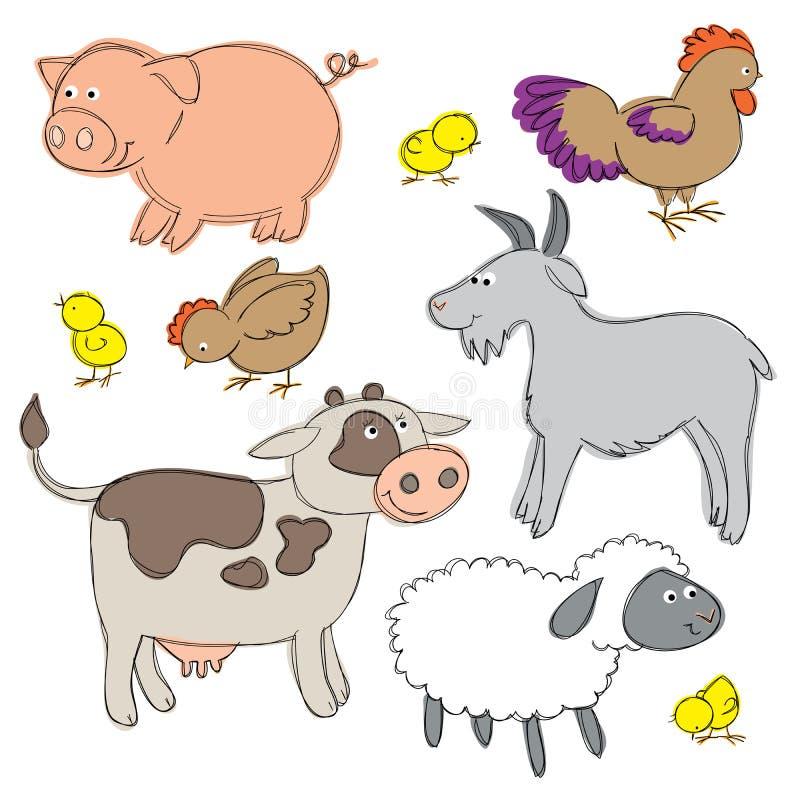 Rolnego jarda zwierzęta ilustracji