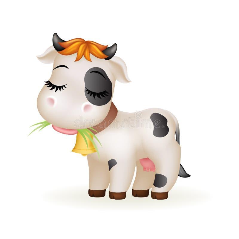 Rolnego małego kreskówki krowy ślicznego łydkowego białego trwanie ssaka sztuki zwierzęcy projekt odizolowywał wektorową ilustrac ilustracja wektor