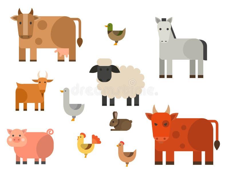Rolnej ikony wektorowej ilustracyjnej natury zbożowego rolnictwa zwierząt karmowi zbiera różni charaktery ilustracji