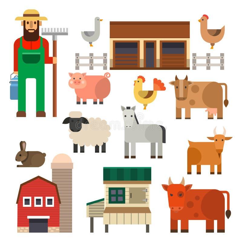 Rolnej ikony wektorowej ilustracyjnej natury zbożowego rolnictwa zwierząt karmowi zbiera różni charaktery royalty ilustracja