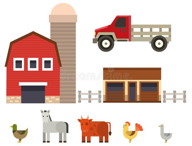 Rolnej ikony wektorowej ilustracyjnej natury zbożowego rolnictwa zwierząt karmowi zbiera różni charaktery ilustracja wektor