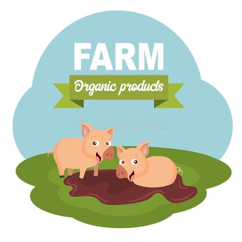 Rolnej sceny produkt?w organicznie etykietka P?aska wektorowa ilustracja ilustracji