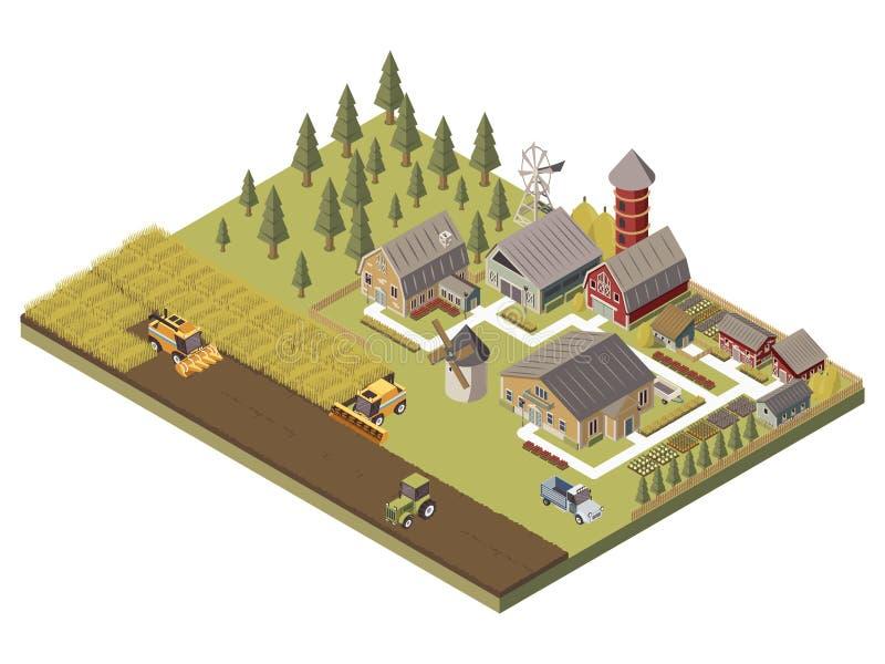Rolni budynki I Kultywujący pola Ilustracyjni ilustracja wektor