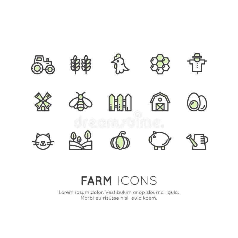 Rolni symbole, kraju budynek, gospodarstw domowych narzędzia, zwierzęta domowe i zwierze domowy, ilustracji