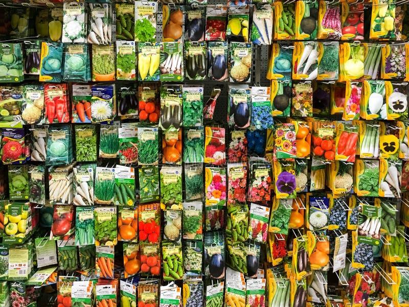 Rolnictw ziarna Dla warzywo rośliien Na sprzedaży W supermarketa stojaku obraz stock