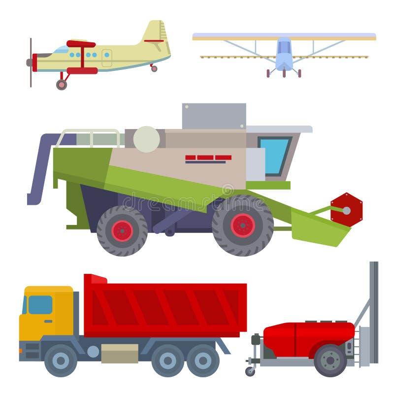Rolnictwa żniwa rolnego wyposażenia ciągników maszynowy wektorowy przemysłowy transport i maszyneria ekskawator łączymy royalty ilustracja