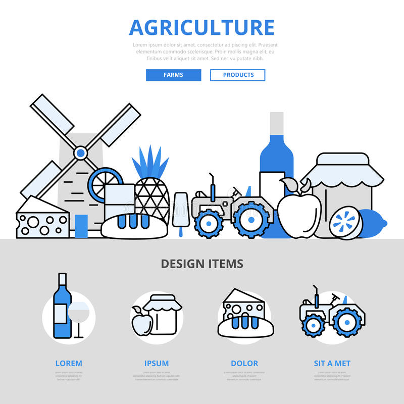 Rolnictwa jedzenia gospodarstwa rolnego naturalnego pojęcia kreskowej sztuki wektoru płaskie ikony ilustracja wektor