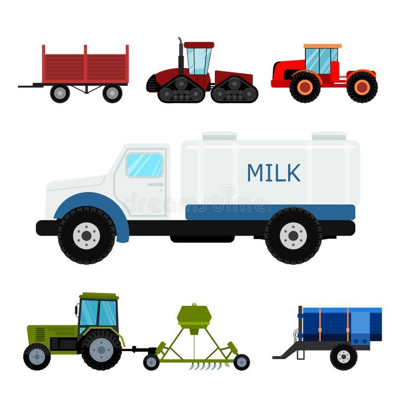 Rolnictwa rolnego wyposażenia maszynerii przemysłowi ciągniki i ekskawatoru wektoru ilustracja łączą royalty ilustracja