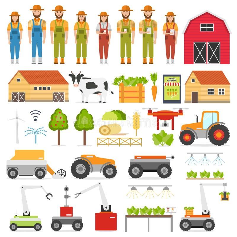 Rolnictwo automatyzacji mądrze uprawia ziemię ikony ustawiać z odosobnionymi wizerunkami rolnik i robot ilustracja wektor
