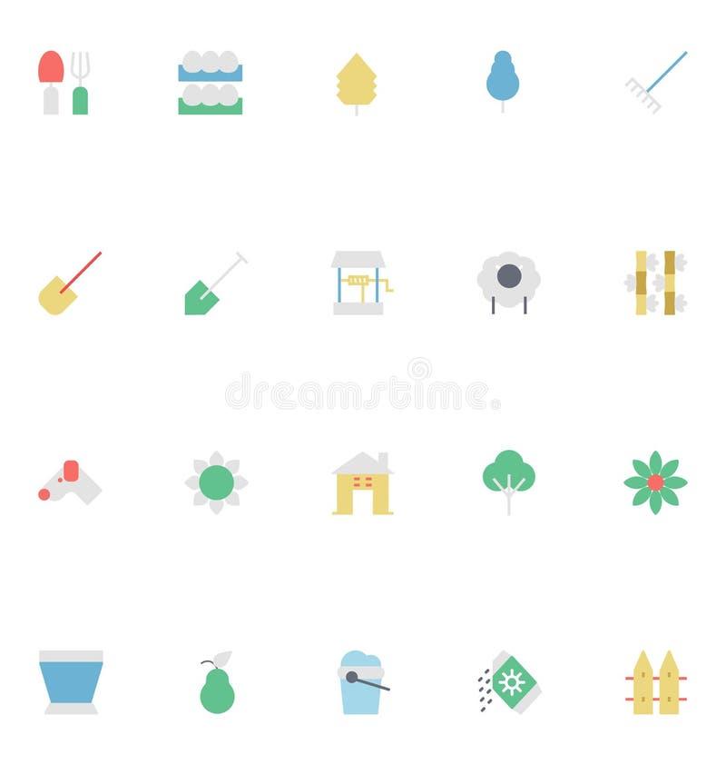 Rolnictwo Barwione Wektorowe ikony 4 ilustracja wektor