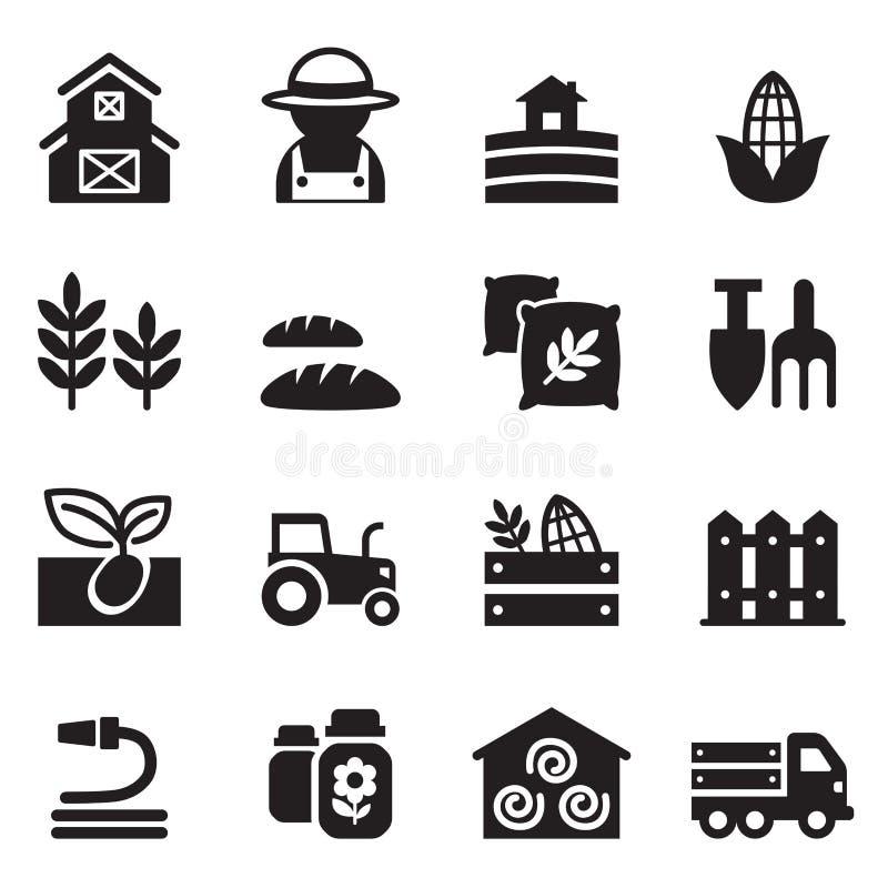 Rolnictwo i uprawiać ziemię ikony ustawiać ilustracja wektor