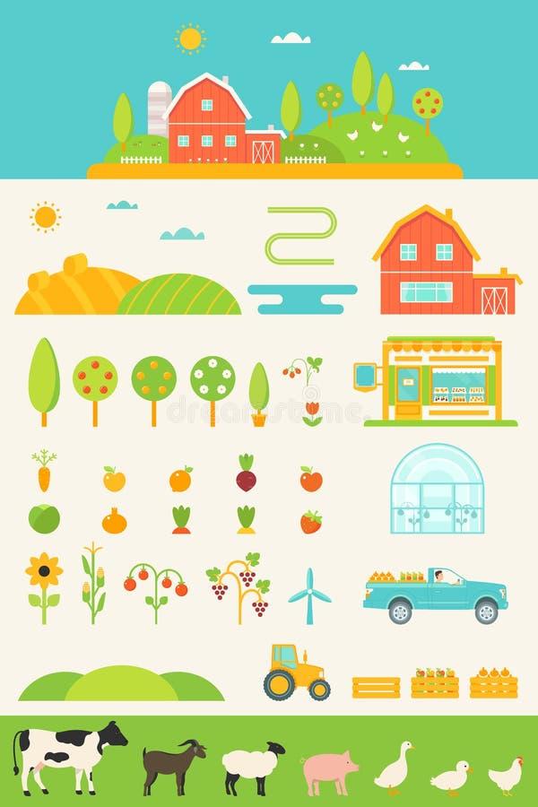 Rolnictwo i Uprawiać ziemię Infographics elementy Ustawiających ilustracji