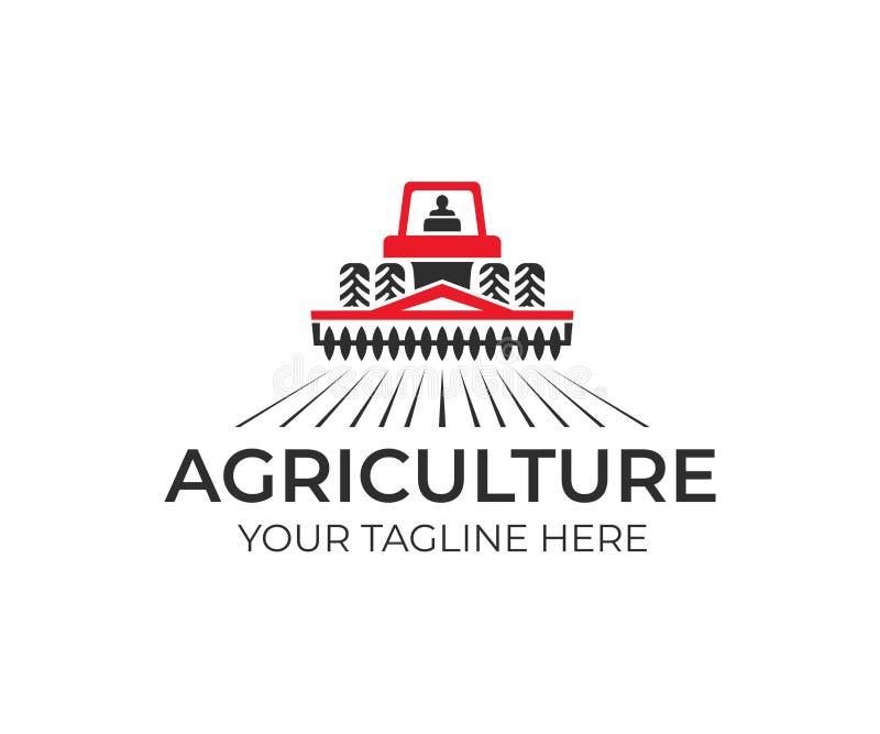 Rolnictwo i uprawiać ziemię z ciągnikiem z kultywatorem i pługiem, loga projekt Przemysł rolny, eco kraj, rolny i wiejski, wektor ilustracji
