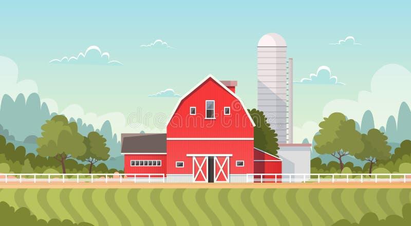 Rolnictwo I Uprawiać ziemię, ziemi uprawnej wsi krajobraz ilustracji
