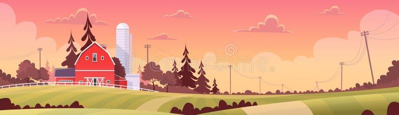 Rolnictwo I Uprawiać ziemię, ziemi uprawnej wsi zmierzchu krajobraz ilustracja wektor