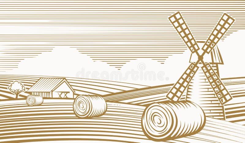 Rolnictwo krajobraz z młynem i stajnią ilustracja wektor