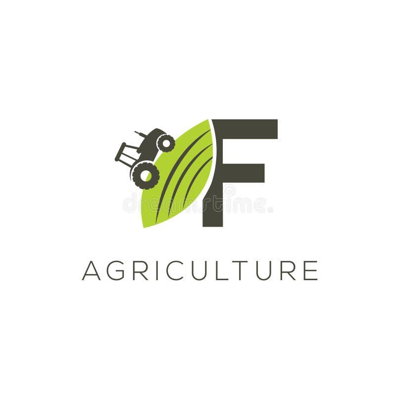 Rolnictwo loga list F Ciągnikowa ikona Zielonego jedzenia emblemat ilustracja wektor